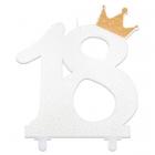 """Svece tortei vai kūkai """"18"""" ciparu formā, balta ar perlamutru, komlektā ar svečturi, augstums 18 cm."""