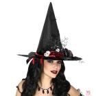 Raganu cepure ar sikspārņiem, rozēm un leļļu galvām