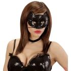 Kaķa acu maska ar vizuļiem,  melna