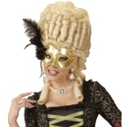 Venēcijas acu maska zeltā krāsā ar rozēm, krellēm un spalvām