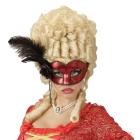 Venēcijas acu maska sarkanā krāsā ar rozēm, krellēm un spalvām