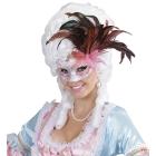 Kolumbijas karnevāla maska ar spīdumu un spalvām, rozā un violeta