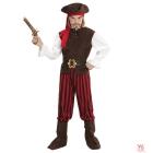 Karību jūras pirāts  (krekls ar vesti, bikses, josta, zābaku uzlikas, galvas josta, cepure) (140 cm/8-10 gadi)