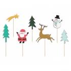 Kēksiņu iesmiņi Priecīgus Ziemassvētkus, dizaina sajaukums, izmērs 12.5 - 18.5 cm, 7 gab.