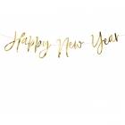 Virtene - Happy New Year izgatavota no spoguļpapīra, garums aptuveni 66 cm un augstums 18 cm