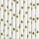 Papīra salmiņi balti ar zelta zvaigznēm, 19.5 cm, 10 gab.