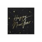 "Papīra salvetes melnā krāsā ar zelta apdruku ""Happy New Year"", 33x33 cm, 20 gab."
