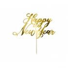 Tortes iesmiņš Happy New Year (Laimīgu Jauno gadu), zelta spoguļa papīrs, 24 cm