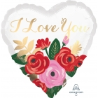 LOVE YOU Ziedu pušķis - sirds formas folijas hēlija balons, 43 cm