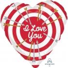 """Sirds formas folijas hēlija balons """"I Love You"""", 43 x 43 cm, piepūšams ar hēliju"""