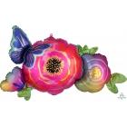"""Folijas hēlija balons """"Satin Infused Flowers & Butterfly"""", 93 x 48 cm, piepūšams ar hēliju"""