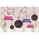 Spirāles formas piekaramie istabas dekori - HAPPY BIRTHDAY, 61cm komplektā 12gb