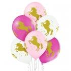 """""""Vienradži"""" 12""""/30 cm lateksa baloni 6 gab. Pastelis: 002 Balts, 004 Gaiši Rozā, 010 Koši Rozā. Druka: 1 Krāsa(s) / 4 Puses"""