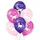"""""""Dzimšanas dienai ar Vienradži"""" 12""""/30 cm lateksa baloni 6 gab. Pastelis: 004 Gaiši Rozā, 010 Koši Rozā, 153 Koši Violets. Druka"""