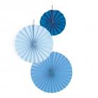 Fanti - dekoratīvi papīra vēdekļi zilos, gaiši zilos toņos 3 gab.