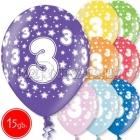 """12""""/30 cm lateksa baloni, 3 dzimšanas diena, assortimenta  dažadas krasas, 15 gab."""