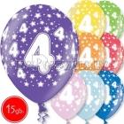 """12""""/30 cm lateksa baloni, 4  dzimšanas diena, assortimenta  dažadas krasas, 15 gab."""