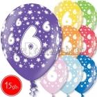 """12""""/30 cm lateksa baloni, 6 dzimšanas diena, assortimenta  dažadas krasas, 15 gab."""