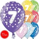 """12""""/30 cm lateksa baloni, 7  dzimšanas diena, assortimenta  dažadas krasas, 15 gab."""