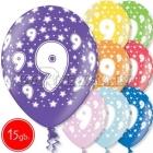 """12""""/30 cm lateksa baloni, 9 dzimšanas diena, assortimenta  dažadas krasas, 15 gab."""
