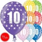 """12""""/30 cm lateksa baloni, 10  dzimšanas diena, assortimenta  dažadas krasas, 15 gab."""