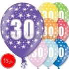 """12""""/30 cm lateksa baloni, 30 dzimšanas diena, assortimenta  dažadas krasas, 15 gab."""
