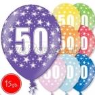 """12""""/30 cm lateksa baloni, 50 dzimšanas diena, assortimenta  dažadas krasas, 15 gab."""