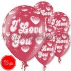 """12""""/30 cm lateksa baloni, Es Tev Milu, 15 gab."""