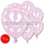 "12""/30 cm lateksa baloni, Christening girl, 15 gab."