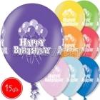 "12""/30 cm lateksa baloni, Happy Birthday, 15 gab."