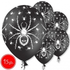 "12""/30 cm lateksa baloni, Zirneklis, melna, 15 gab."