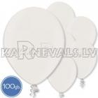 "Metalliks, balti, 12""/30cm lateksa baloni 100.gab."