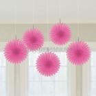 POM PON - zīdpapīra piekaramās dekorācijas, 15.2cm, rozā, komplektā 5 gab.