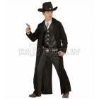 Gangstera kostīms, (140cm), melnā krāsā - garš mētelis un veste