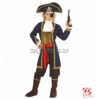 Pirāta kostīms (128cm) - mētelis, veste ar žabo, aproces, bikses, josta, apavu pārvalki, cepure, acu aizsegs
