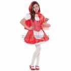 Sarkangalvītes tērps (110cm) 4-6 gādu vecumā bērniem - kleita, piešūts priekšauts, mini appmetnis,  piešūtā kapuce.
