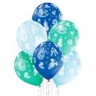 """""""Mazuītim"""" 12""""/30 cm lateksa baloni  6 gab. Pastelis: 003 Gaisi Zils, 005 Meža Zaļš, 022 Koši Zils. Druka: 1 Krāsa(s) / 5 Puses"""