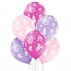 """""""Mazulītei"""" 12""""/30 cm lateksa baloni  6 gab. Pastelis: 004 Gaiši Rozā, 009 Gaiši violets, 010 Koši Rozā. Druka: 1 Krāsa(s) / 5 P"""