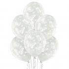 """""""Tauriņi"""" 12""""/30 cm lateksa baloni  6 gab. Caurspīdīgi: 038 Caurspīdīgs Bezkrāsas. Druka: 1 Krāsa(s) / 5 Puses"""