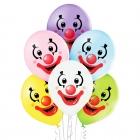 """Klauni"" 12""/30 cm lateksa baloni 6 gab. Pastelis  008 Abolu Zaļš, 006 Dzeltens, 002 Balts, 003 Gaisi Zils, 004 Gaiši Rozā, 009"