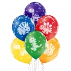 """""""Dinozauri"""" 12""""/30 cm lateksa baloni 6 gab. Pastelis 011 Koši Zaļš, 117 Koši Dzeltens, 007 Oranžs, 101 Sarkans, 153 Koši Violets"""