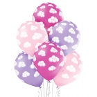 """""""Rozā mākoņi"""" 12""""/30 cm lateksa baloni 6 gab. Pastelis: 004 Gaiši Rozā, 009 Gaiši violets, 010 Koši Rozā. Druka: 1 Krāsa(s) / 5"""