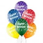 """""""Dzimšanas Dienai"""" 12""""/30 cm lateksa baloni 6 gab. Caurspīdīgi:  035 Zaļš, 036 Dzeltens, 037 Oranžs, 131 Royal Sarkans, 023 Quar"""
