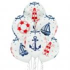 """Jūra un jūrnieki"" 12""/30 cm lateksa baloni  6 gab. Pastelis: 002 Balts. Druka: 1 Krāsa(s) / 5 Puses"
