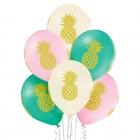 """Ananass"" 12""/30 cm lateksa baloni  6 gab. Pastelis: 004 Gaiši Rozā, 016 Vanilla, 005 Meža Zaļš. Druka: 1 Krāsa(s) / 4 Puses"