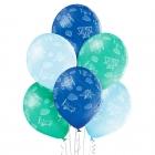 """""""Lidmašīnas"""" 12""""/30 cm lateksa baloni 6 gab. Pastelis: 003 Gaisi Zils, 005 Meža Zaļš, 022 Koši Zils. Druka: 1 Krāsa(s) / 5 Puses"""