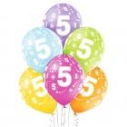 5-й День Рождения 12″/30 см шары из латекса, 6 шт. Пастель: 008 Зелёное яблоко, 117 Ярко-желтый, 007 Оранжевый, 010 Ярко-розовы