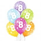 """8.Dzimšanas Diena 12""""/30 cm lateksa baloni  6 gab. Pastelis: 008 Abolu Zaļš, 117 Koši Dzeltens, 007 Oranžs, 010 Koši Rozā, 009"""