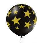 """Zvaigznes"" 1 gab. 24""/60 cm lateksa balons Pastelis: 025 Melns. Druka: 1 Krāsa(s) / 5 Puses"