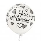 """""""Tikko precējušies"""" 1 gab. 24""""/60 cm lateksa balons Metālika: 070 Pērļu balts. Druka: 1 Krāsa(s) / 5 Puses"""